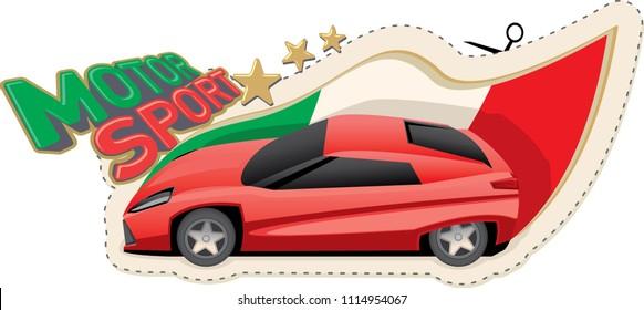Sports car sticker design, italian motorsport. Vector