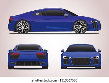 sports car view from three sides. Audi R8.