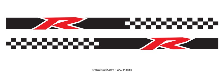 Sports Car Wrapping Decal Design, R line racing, sport flag