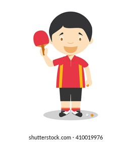 Sports cartoon vector illustrations: Table tennis