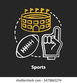 Sports chalk concept icon. Producing and organizing sport activity idea. Business industry. Physical recreation service. Leisure time places, fitness products. Vector isolated chalkboard illustration