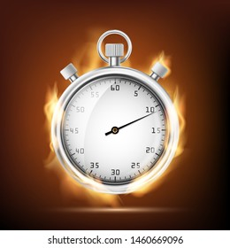 Sports chronometer with an arrow burning in the flame. Vector illustration