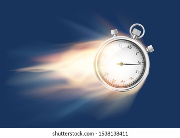 Sports chronometer or stopwatch flies and burns with flame. Vector illustration.