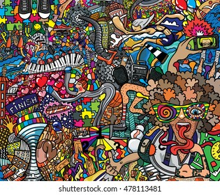 Sports collage on a large brick wall, graffiti