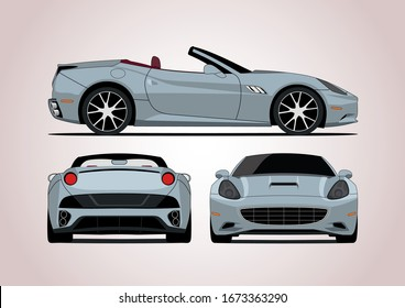 sports convertible, view from three sides. Ferrari California.