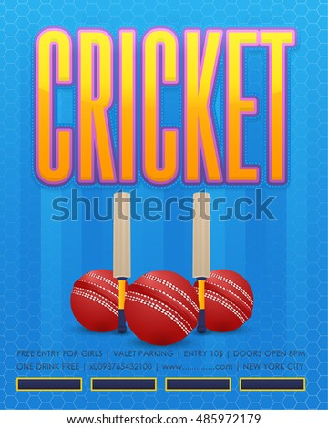 sports cricket event poster template vector stock vector royalty