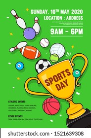 Sports Day Poster Invitation Vector illustration. Trophy with sport equipment on green background.