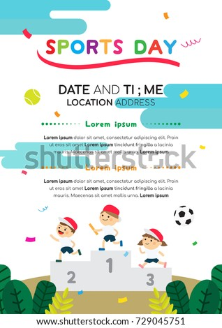 Sports Day Poster Invitation Vector Illustration Stock