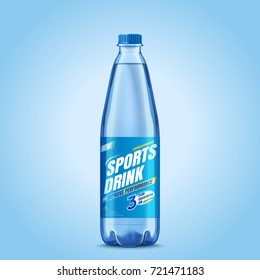 Sports drink package design, clear liquid in plastic bottle mockup in 3d illustration