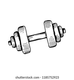 sports dumbbell for gymnastics sketch isolated.