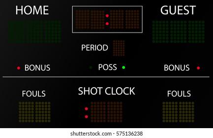 Sports electronic scoreboard. Blank electronic scoreboard mockup. Vector illustration.