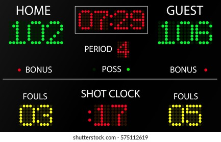 Sports electronic scoreboard. Sports statistics: score, time, period, fouls. Electronic scoreboard mockup. Vector illustration.