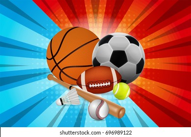 Sports Equipment. Basketball, football, tennis, rugby, badminton and baseball on fighter cartoon background. vector illustration.