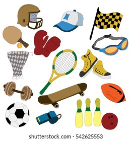 sports equipment: bowling ball, ball, skateboard, whistle, paddle, rod