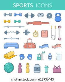 Sports equipment collection. Vector icons isolated on white. Modern pictograms for web graphics.
