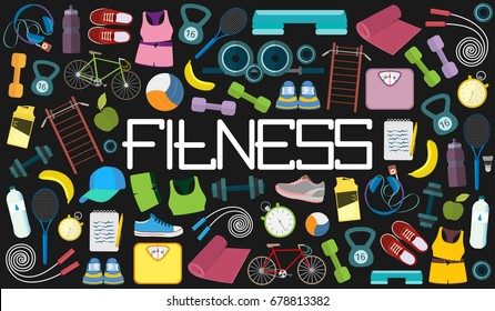 Sports equipment and diet - vector icon set