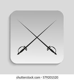 Sports Equipment. Fencing swords. Vector icon.