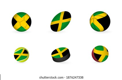 Sports equipment with flag of Jamaica. Sports icon set of Football, Rugby, Basketball, Tennis, Hockey, Cricket.