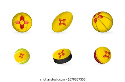 Sports equipment with flag of New Mexico. Sports icon set of Football, Rugby, Basketball, Tennis, Hockey, Cricket.