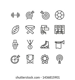 Sports equipment line icon set. Gym, leisure, challenge.  Competition concept. Can be used for topics like activity, hobby, motivation