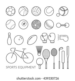Sports Equipment, Line Icons Set, Objects, Recreation and Leisure
