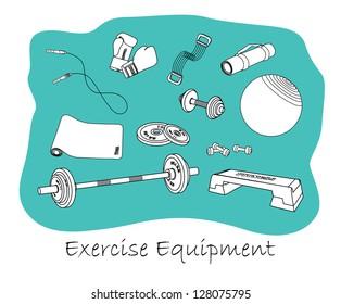 Sports equipment outline set