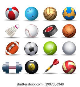 Sports equipment pack. Balling and baseball balls, badminton and golf inventory, rugby and darts isolated equipements, cartoon sport pack vector illustration
