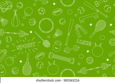 Sports Equipment pattern. Set of colorful sport balls and gaming items at a green background. Subject of fitness, sport, healthy lifestyle tools, elements. Vector Illustration