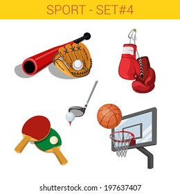 Sports equipment vector icon set. Baseball bat glove, boxing gloves, golf club ball, table tennis rackets, basketball backboard hoop. Sport collection.