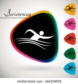 Sports Event icon/symbol - swimming . 1 Multicolor and 5 monotone options.