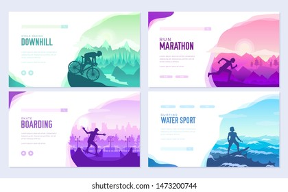 Sports are everywhere. Bike, skate, run, surf, race and win. Motivational posters and covers. Sport in us and among us advertising, body runner sprinter active bike,  wellness, race, lifestyle health