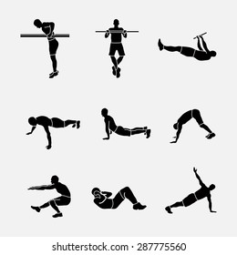 sports exercise, a set of sports icons, silhouettes of athletes, sports exercise symbol piktograma, fully editable vector image