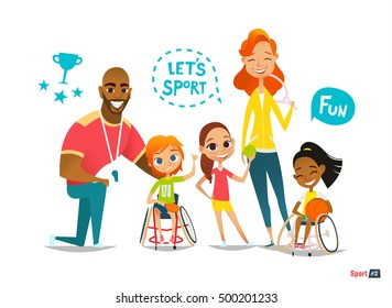Sports family. Handicapped Kids in wheelchairs playing ball and have fun with their friend. Coaching  young sportsmen's. Medical rehabilitation. Vector Illustration.
