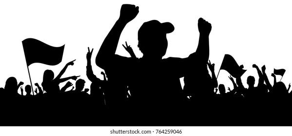 Sports fan silhouettes