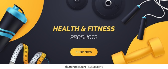 Sports and fitness products banner design. Flat lay composition with dumbbells, barbell plates, shaker, skipping rope, measuring tape. Advertisement concept for sports store. Vector illustration. - Shutterstock ID 1919898449