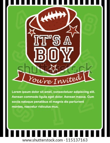 sports football baby shower invitation card stock vector royalty