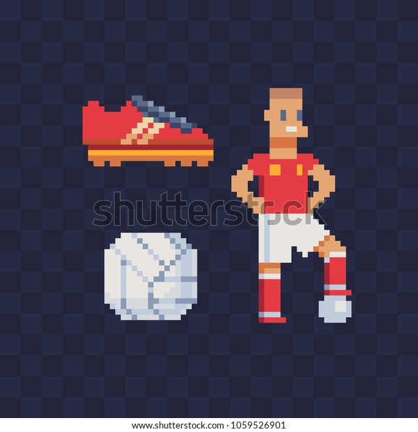 Sports Football Pixel Art Icons Red Stock Vector (Royalty