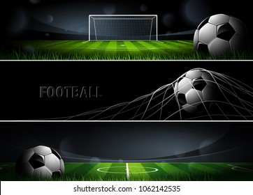 Sports Football or Soccer Banners in dark color. Vector illustration