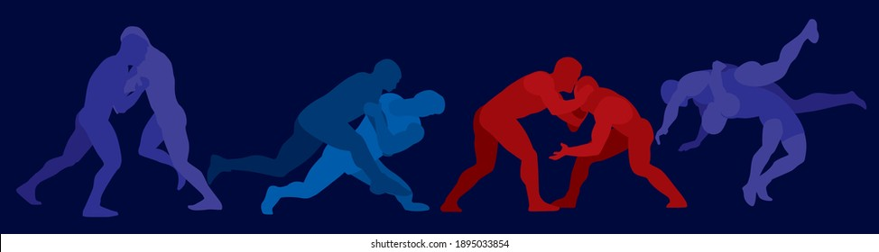 Sports freestyle wrestling. Colored silhouettes of wrestling athletes on a dark background