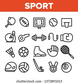 Sports Games Equipment Linear Vector Icons Set. Sport Activities Thin Line Contour Symbols Pack. Team Games Pictograms Collection. Healthy Lifestyle. Professional Sportsmanship Outline Illustrations