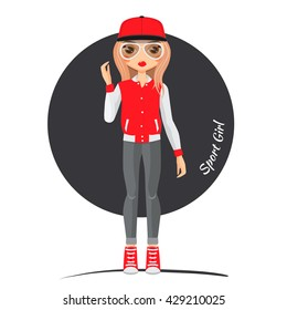 Sports girl in cool sneakers, bomber and a cap Girl doll in clothes of sports style. It is jointed doll. It may take the other poses. She wore sneakers, cool red bomber, a cap and comfortable jeans.