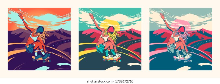 Sports girl on a longboard in the summer rides on the road. Extreme sports, vivid illustration, sunset sky and beautiful landscape. Poster for a sports store.