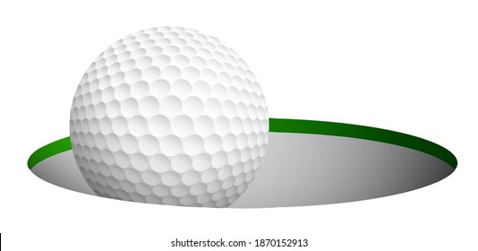 sports golf ball rolling and falls in hole on field after accurate hit. Active lifestyle. Realistic vector