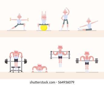 Sports - gymnastics, yoga, stretching, weightlifting, powerlifting, workout