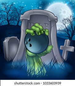 A sports Halloween graveyard illustration with a zombie hand breaking out of a grave holding a bowling ball.