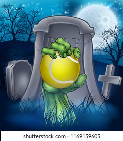 A sports Halloween graveyard illustration with a zombie hand breaking out of a grave holding a tennis ball.