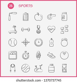 Sports Hand Drawn Icon for Web, Print and Mobile UX/UI Kit. Such as: Basketball, Basketball Ball, Ball, Game, Sports, Award, Medal, Pictogram Pack. - Vector
