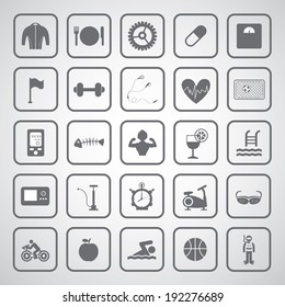 Sports and healthy icons set on gray background