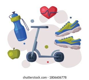 Sports and Healthy Lifestyle, Cardio Workout, Kick Sooter, Bottle of Water, Apple, Sneakers Cartoon Style Vector Illustration