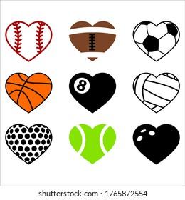 Sports hearts, baseball, american football, gridiron, basketball, billiard, pool, volleyball, golf, tennis, bowling ball set. Vector illustration, isolated element decal, sticker, Valentine's card